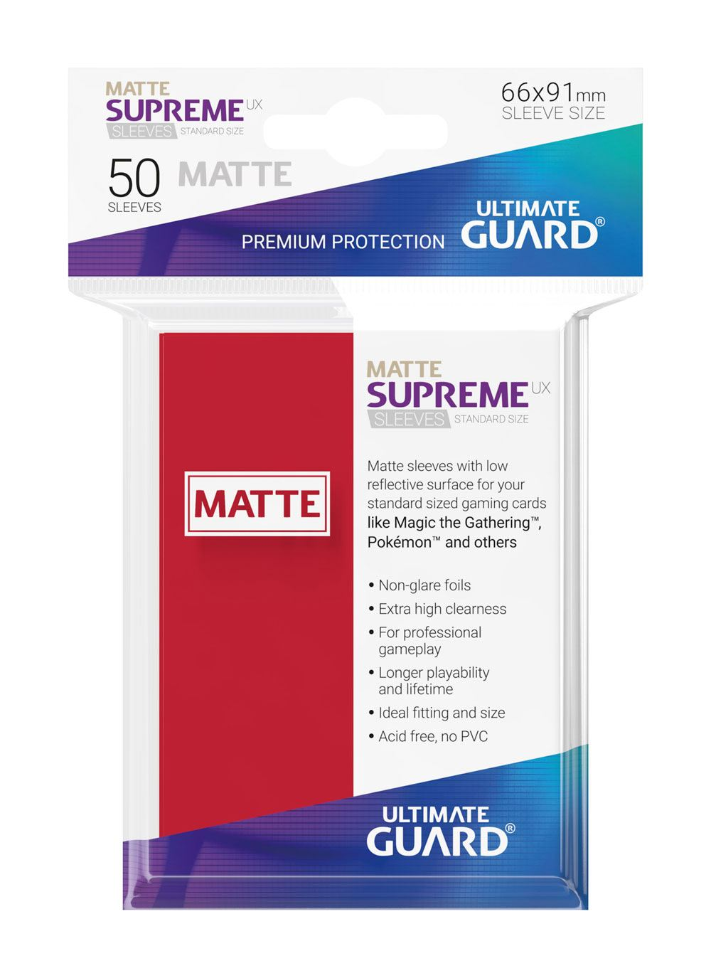 Pokemon Ultimate Guard Supreme UX Sleeves Standard Size Matte Red (50)